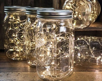2 METERS Long / SET of FIVE Fairy Light / Copper Wire led Fairy Lights / String Lights / Mason Jar Lights / Battery Powered Lights / White
