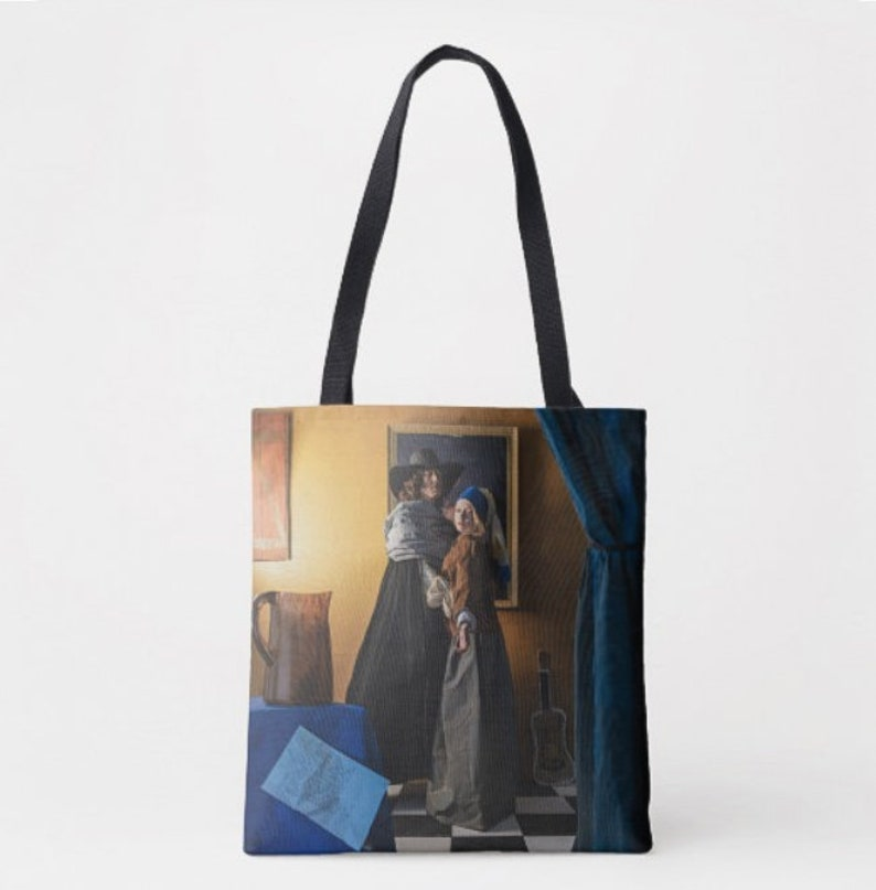 reusable shopping tote Fine art book bag Vermeer art bag Original art tote with quote Old painting tote Girl with a pearl earring tote