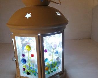 fused glass flower meadow lantern