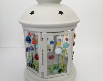 fused glass flower meadow lantern type 2
