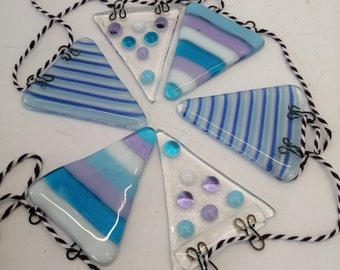 stripes and dots fused glass bunting