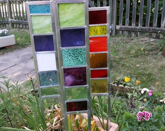Small decorative stained glass garden panels