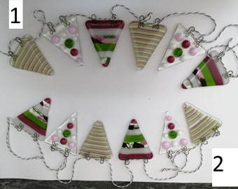 fused glass spots and stripes bunting