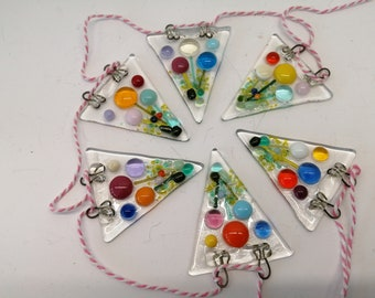 fused glass flower meadow bunting