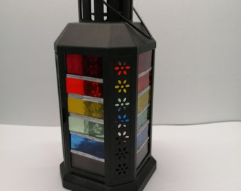 rainbow striped stained glass lantern