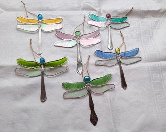 stained glass dragonfly sun catcher, suncatcher