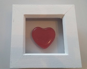 fused glass heart in a 3D frame
