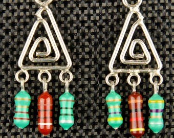 Triangle Dangle Earrings with Green and Brown Resistors