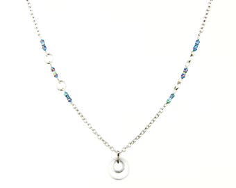 Blue Resistor Chain Necklace with Capacitor Plates Pendant