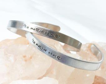 No Matter Where No Matter What Gift, Best Friend Gift, Best Friend Jewelry, Gift for Friend,Long Distance Friend Gift,Long Distance Bracelet
