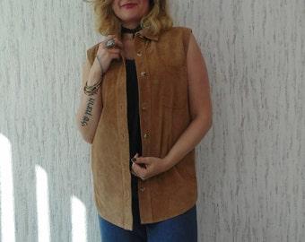 Vintage Oversized Hippie Boho Suede Vest