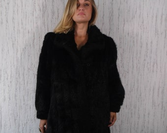 Faux Fur Coat Dark Brown Fake Fur Jacket Vegan Vintage 70s 80s Bohemian Jacket Boho Furry Glam Rock Fuzzy Bohemian Winter Medium