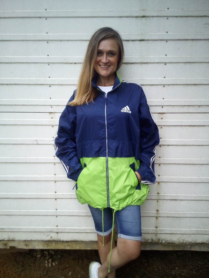 8caabd6a0 Vintage Adidas Rain Jacket Windbreaker Festival Jacket | Etsy