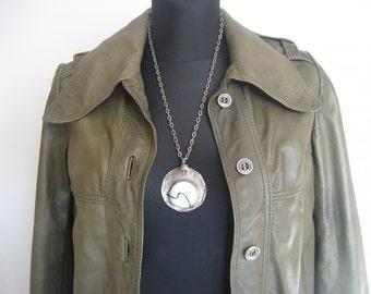 Unique 70s leather khaki jacket, coat
