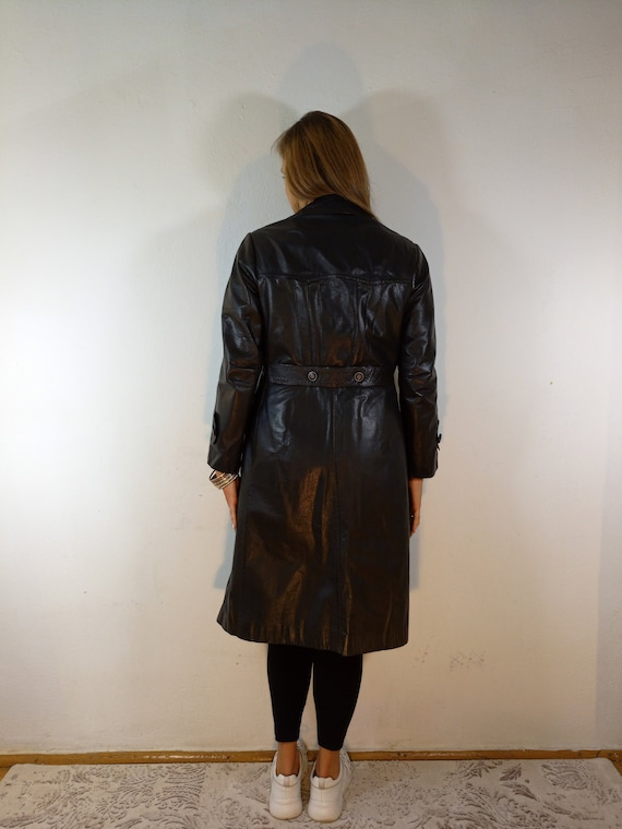 Vinage_Leather Trench Coat Tailroed Leather Trenc… - image 4