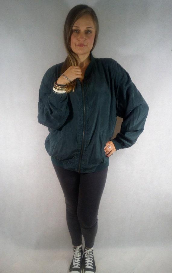 Vintage 80s  Green Silk Bomber Jacket