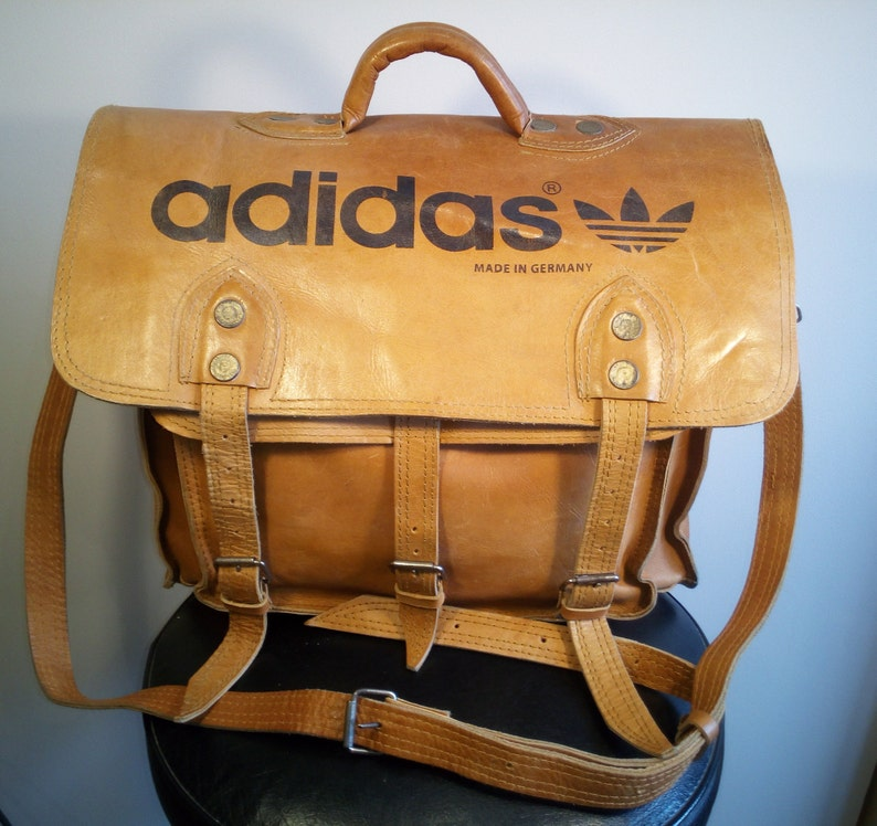 SALE   ADIDAS Real Leather Bag   Trefoil   Vintage   made in  0469f45ec38aa