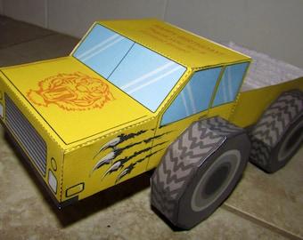Monster Truck Favor Box: DIY printable PDF with editable text