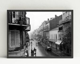 Black and White Photography Print - New Orleans French Quarter - Digital Download Art - Landscape Architecture Masculine Home Decor Wall Art