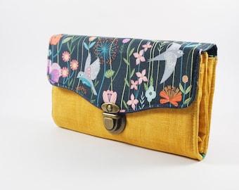 Birdy Floral Woman wallet,  gift for her, womens wallet, Vegan purse, Best friend gift, Necessary clutch wallet, cute wallet