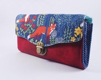 Fox Women's wallet, , gift for her, woman wallet, Black friday sale, red wallet, Vegan cute wallet for women, Necessary clutch wallet