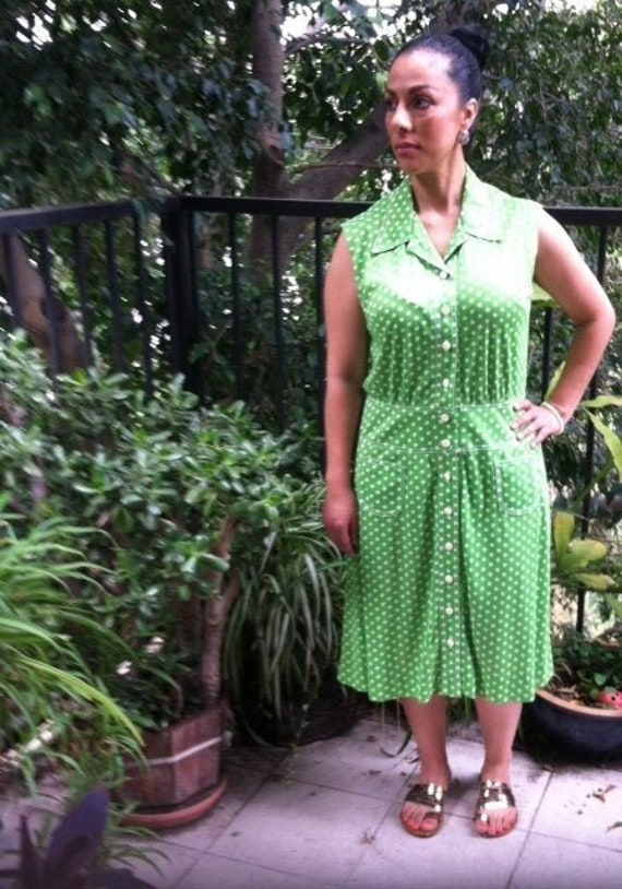 1960's Green Polka Dot Dress