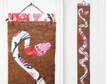 Floral Python Paper Snake Collage Wall Hanging