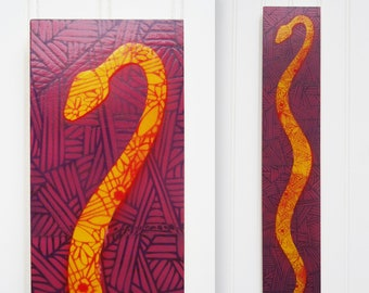 Stencil Snake Painting on Panel - Yellow on Purple