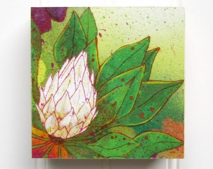 White Bloom Print on Wood Panel (4 x 4)