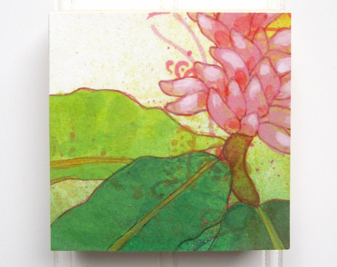Pink Bloom Print on Wood Panel (4 x 4)