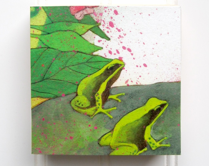 Frogs Print on Wood Panel (4 x 4)