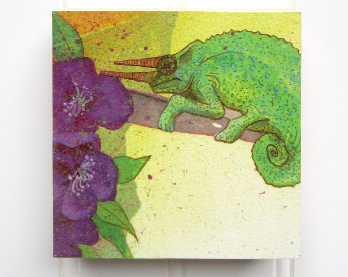 Chameleon Print on Wood Panel (4 x 4)