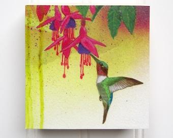 Hummingbird Print on Wood Panel (4 x 4)