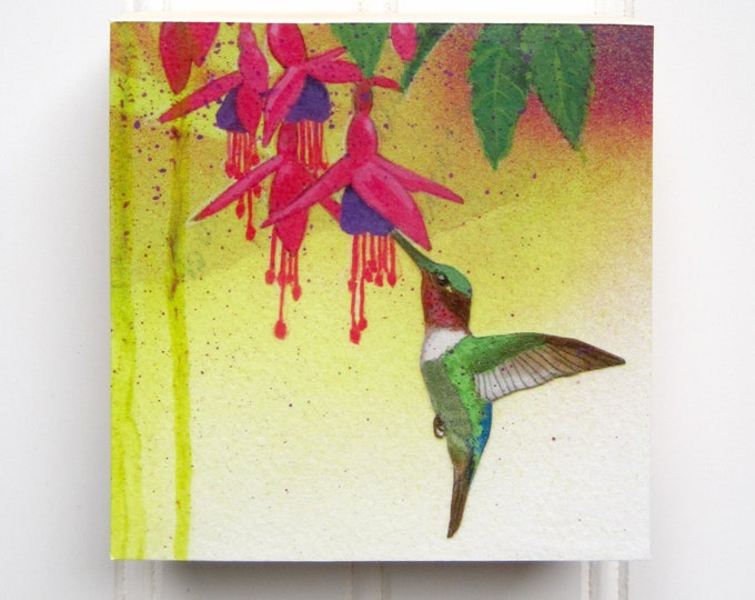 Hummingbird Print on Wood Panel (4 x 4)