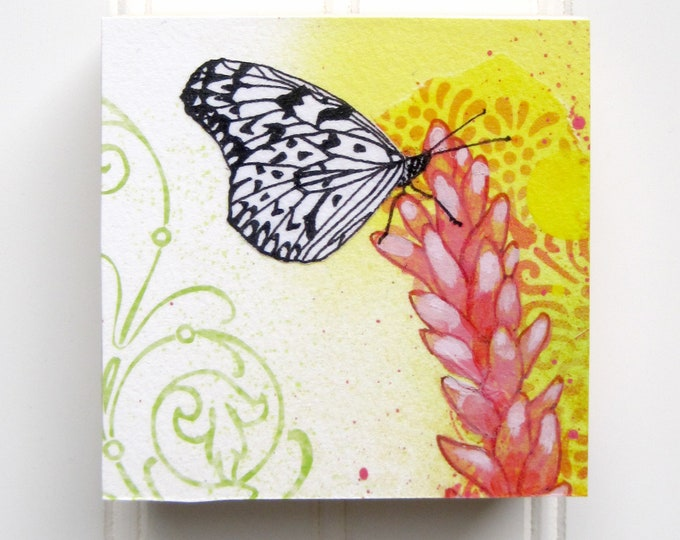 Butterfly Print on Wood Panel (4 x 4)