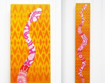 Stencil Snake Collage on Panel - Pink & Orange