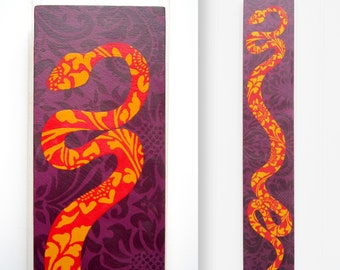 Floral Snake Painting on Panel