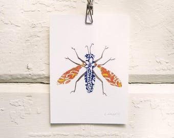 Blue and Orange Moth Print