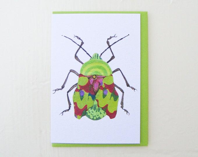 Groovy Green Beetle Card