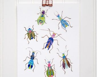 Multi Bug Print - 8 x 10, 11 x 14 - Cool Colors