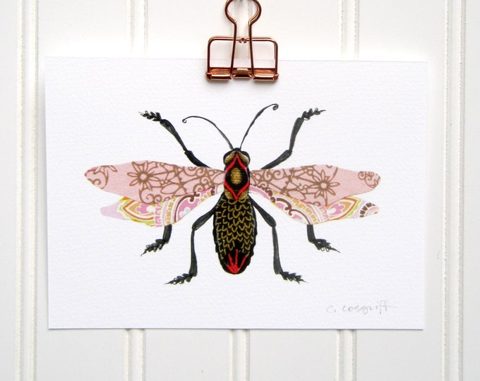 Pink Filigree Flyer Bug  Print