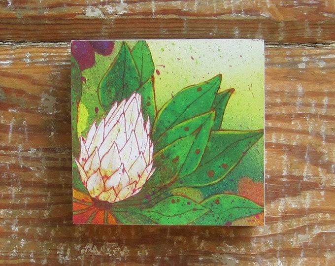 Tropicalia White Bloom Print on Wood Block (4 x 4)