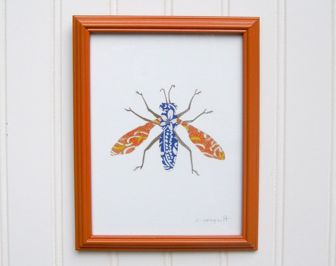 5 x 7 Framed Bug Print - Blue & Orange Moth