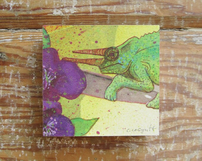 Tropicalia Chameleon Print on Wood Block (4 x 4)