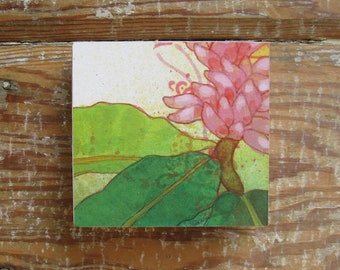 Tropicalia Pink Bloom Print on Wood Block (4 x 4)