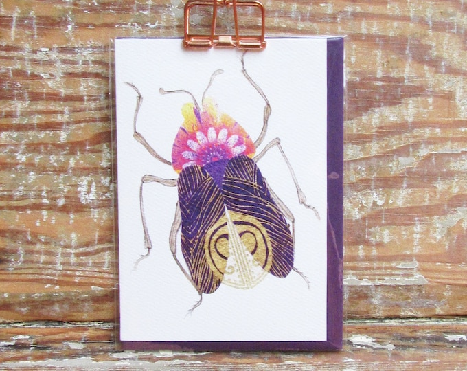 Purple Peacock Beetle Card