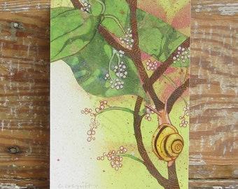 Tropicalia Snail Print on Wood Block (5 x 7)