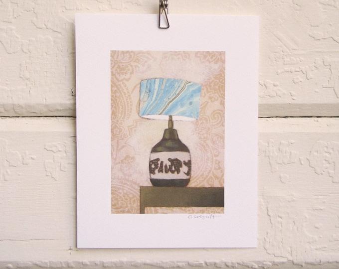 Mid-Century Marble-ized Lamp Print