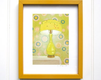 8 x 10 Framed Lamp Print - Yellow Confetti Lamp