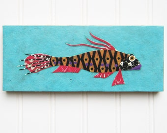 Fish Print/Collage on Wood Panel - Fancy Fish